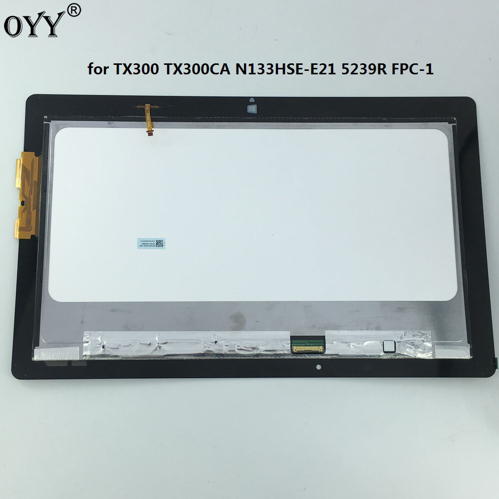 N133HSE -E21 LCD Display Panel Monitor 5239R FPC-1 Touch Screen Digitizer Glass Assembly For ASUS Transformer Book TX300 TX300CA new 10 1 inch tablet touch glass digitizer panel lcd display screen assembly replacement for asus transformer book t100h t100ha