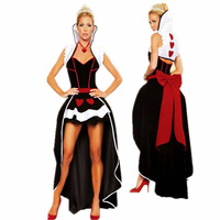 2018 new adult Queen of Hearts dress with crown halloween costume Alice In Wonderland party fantasias fancy cosplay clothing