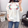 2017 New Fashion Style Spring Floral Embroidery White Pleated Woman Shirts Long Sleeve Ladies Tops Casual Elegant Loose Blouses