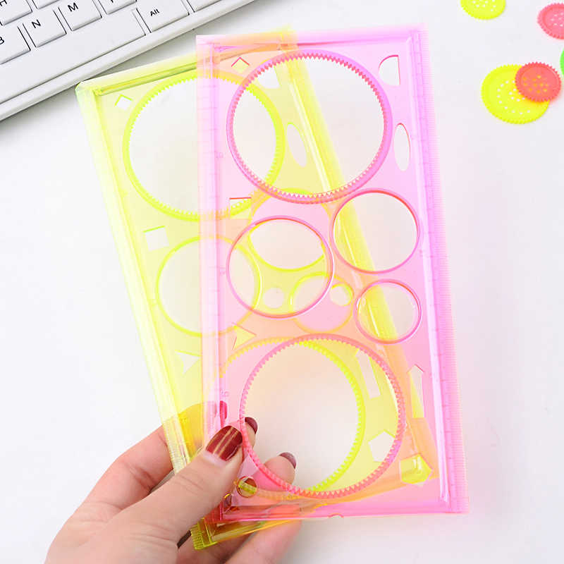 2 pcs/lot spirographe règle géométrique apprentissage dessin outil papeterie pour étudiant dessin ensemble cadeau créatif enfants