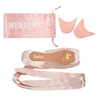 WENDYWU Professional Ballet Pointe Shoes Satin Pink Ballerina Shoes With Silicone Toe Pad with bag