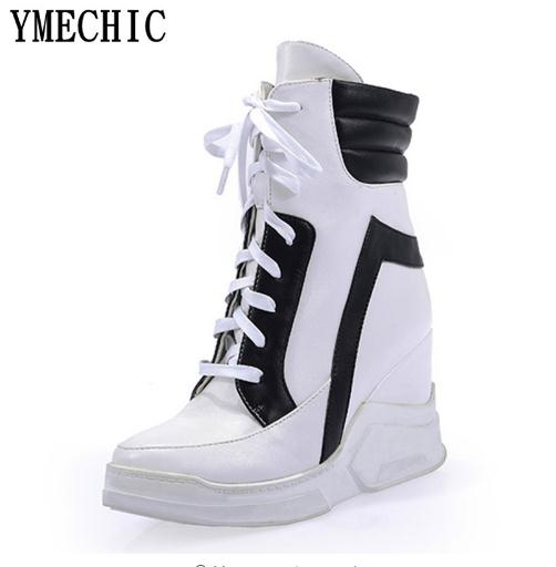 BZBFSKY Fashion 2018 Lace Up Wedges Platform Casual Shoes Woman Patchwork Womens Winter Spring Black White Red Ankle Women Boots red off shoulder lace up elastic waistband casual co ords
