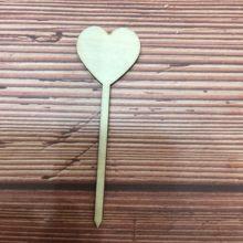 20x деревянное украшение в виде сердца на палочке (14 см) форме