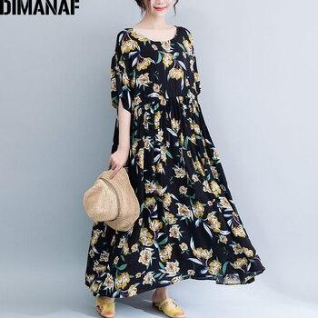 fdc25bc67a3 DIMANAF плюс размеры для женщин пляжное платье Летний Сарафан женский  Vestidos Элегантный женское Макси-платье с цветочным принтом свободные боль.