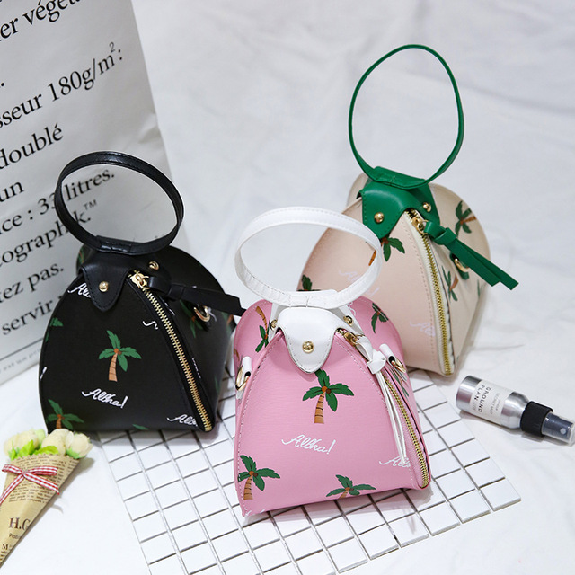 PACGOTH 2017 Fashion PU Leather Zongzi Shaped Day Clutches With Coconut  Tree Ladies Cute Wristlets Shoulder   Crossbody Bags 0a21ae059fdd7
