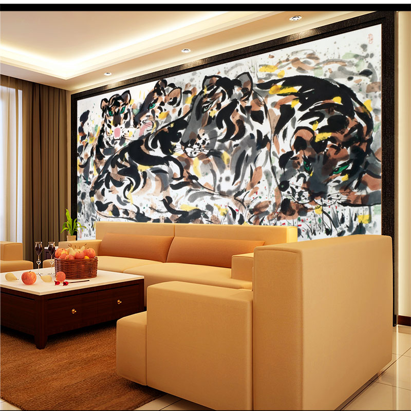 Aliexpress.com : Buy Custom Size Wall Murals Papel De Parede Chinese  Traditional Painting Tigers Print Wallpaper Mural For Living Room Bedroom  Decor From ... Part 66
