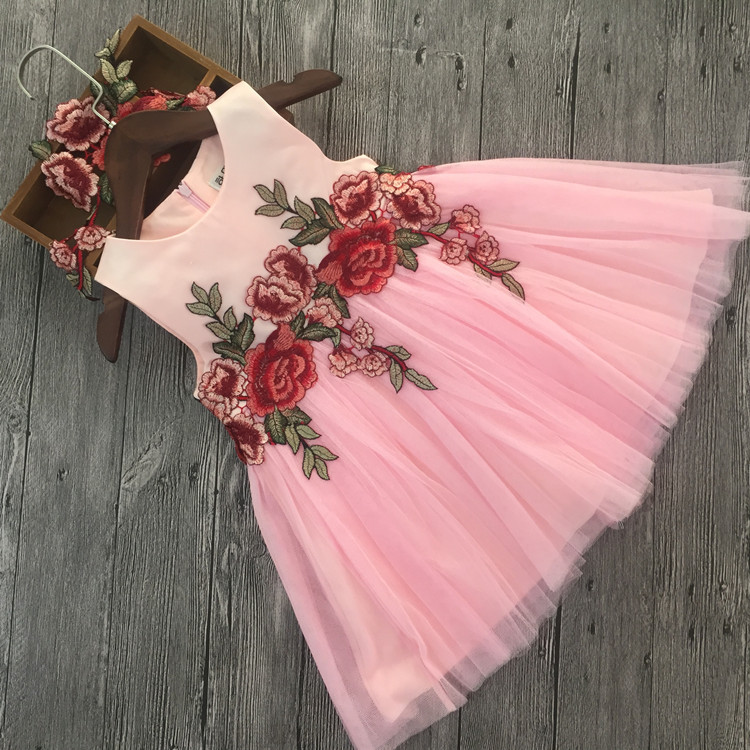 Children Girls Dress 2017 New Summer Mesh Girls Clothes Pink Embroidery Princess Dress Children Summer Clothes Baby Girls Dress