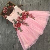 Children Girls Dress 2017 New Summer Mesh Girls Clothes Pink Embroidery Princess Dress Children Summer Clothes