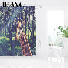 IBANO African Animals Shower Curtain Waterproof Polyester Fabric Bath For The Bathroom Decoration With 12pcs Hooks