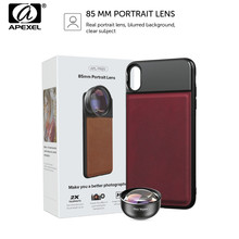 APEXEL HD 85mm Tam Çerçeve 3X Telefoto Lens Telefonu Kamera Lens cep telefonu lensi 17mm Cep Telefonu iphone için kılıf X Samsung xiaomi 9