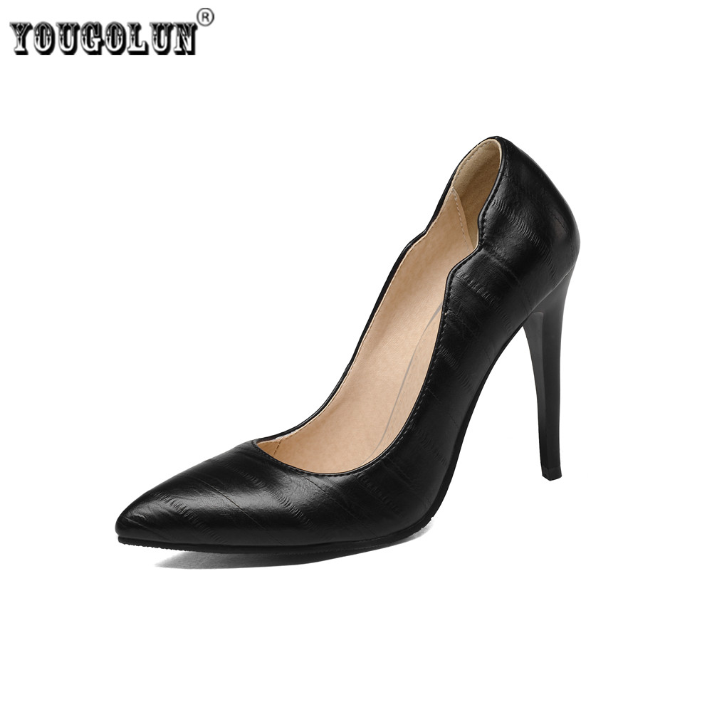 YOUGOLUN woman pointed toe Thin high heels pumps women spring autumn shoes womens elegant women's work office Pumps plus size 4 new 2017 spring summer women shoes pointed toe high quality brand fashion womens flats ladies plus size 41 sweet flock t179