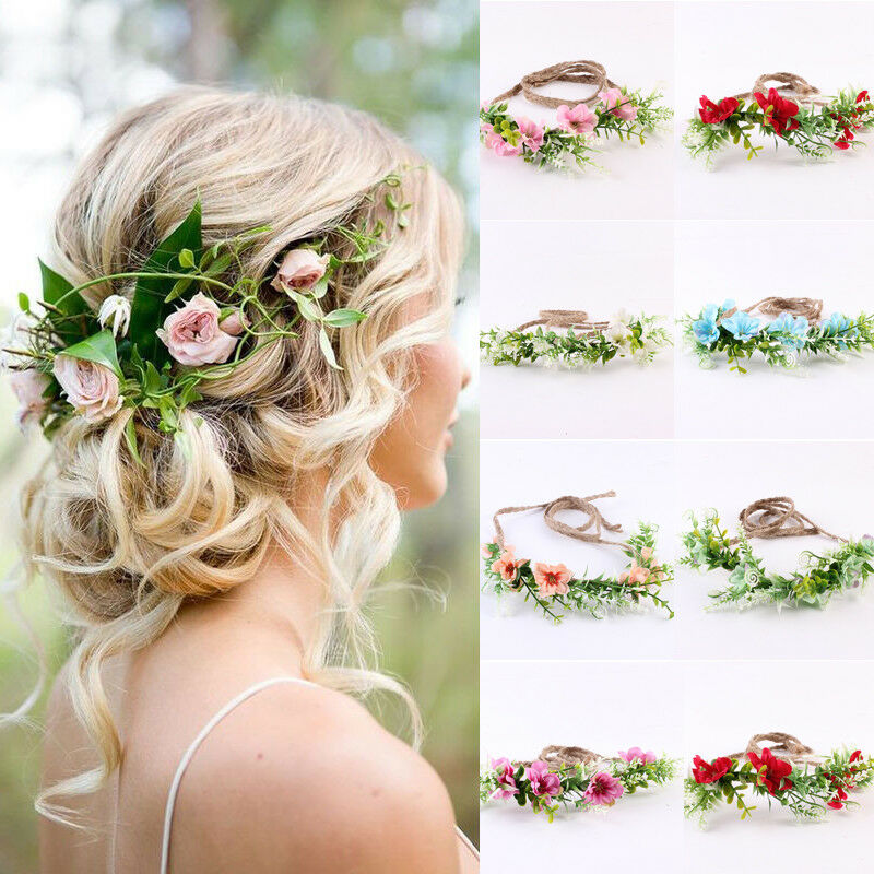 HIRIGIN Flower Headband Head Garland Hair Band Crown Wreath Festival Boho Hippy Wedding Headwear