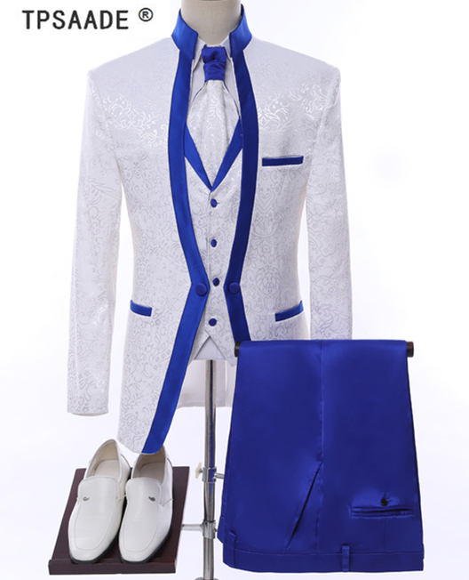Wedding White Or Blue Shirt: White Royal Blue Rim Stage Clothing For Men Suit Set Mens