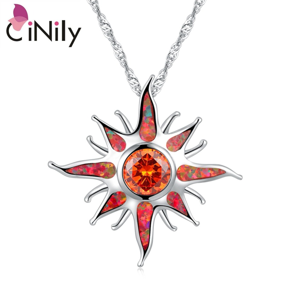 CiNily Starburst Fire Opal Stone Dangle Pendants Silver Plated Large Orange Charm Garnet Without Chain Chic Jewelry Women Girls