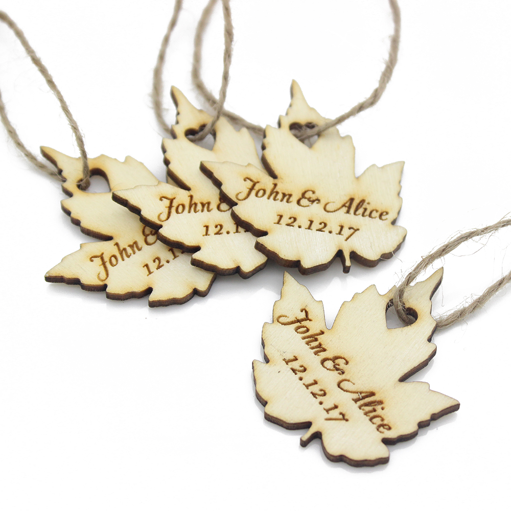 50pcs Personalized Engraved Wooden Wedding Favor Tags Gift Tag Wine ...