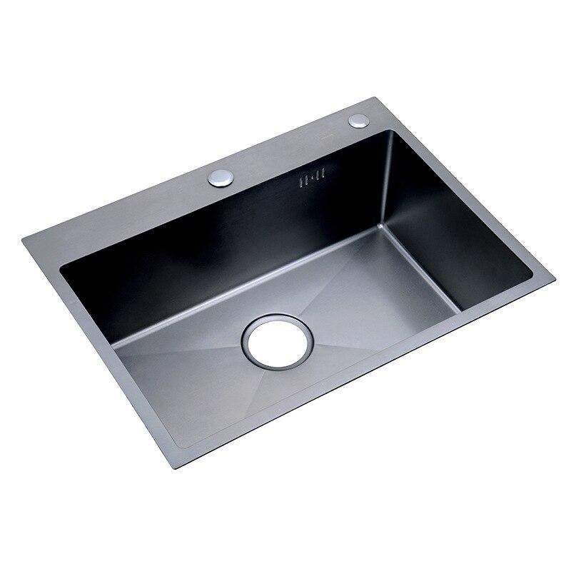 Éviers de cuisine sous le support Nano noir 30 pouces 11 jauge évier en acier inoxydable épaissi à la main cuisine unique fente avec tamis de vidange