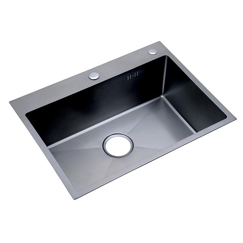 Kitchen Sinks Undermount Nano Black 30-inch 11 Gauge Sink Stainless Steel Hand Thickened Kitchen Single Slot With Drain Strainer