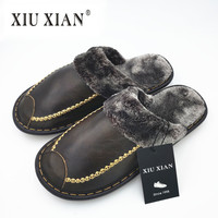 Genuine Leather Luxury Flannel Winter Slippers Top Quality Men Women Home Shoes Plus Size 2017 New