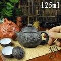 4ピースカンフーティーセット[1ティーポット+ 3カップセット] 125ミリリットル旅行中国磁器セットセラミック宜興紫の粘土茶サービス