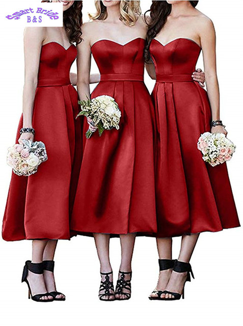 Satin Bridesmaid Dresses Strapless Sweetheart A-Line Homecoming Formal Party Gown for Women Tea Length 2019 Lace-up Back BDress6