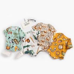 Macacão infantil do bebê recém-nascido meninos meninas selva animal impressão bonito manga curta um-pieces macacão de algodão da criança para o bebê