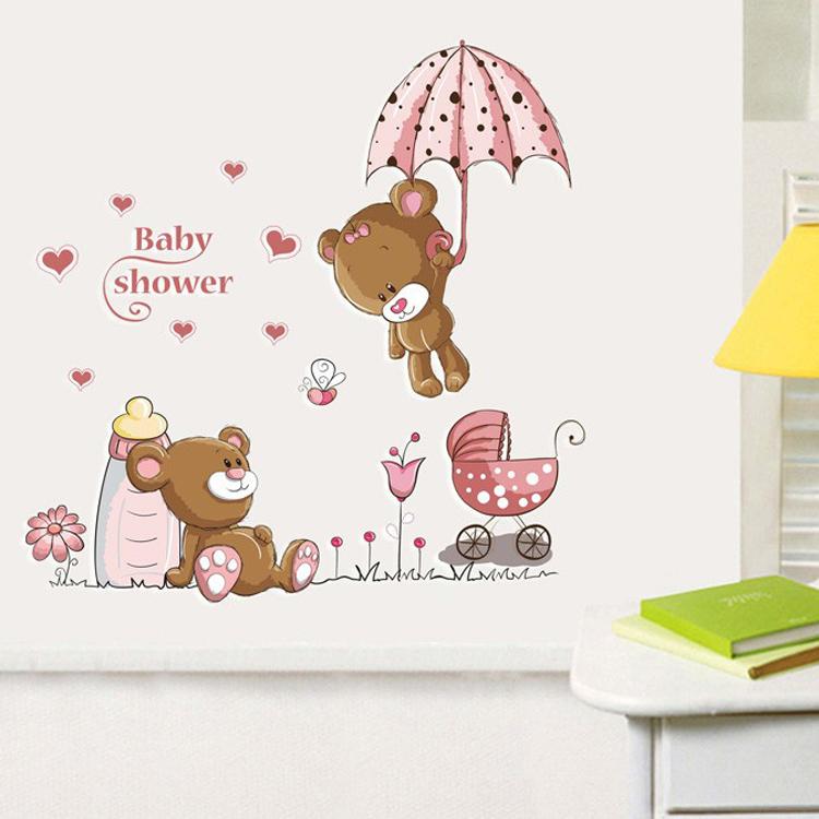 gato de dibujos animados de conejo flor etiqueta de la pared para los bebs para nios