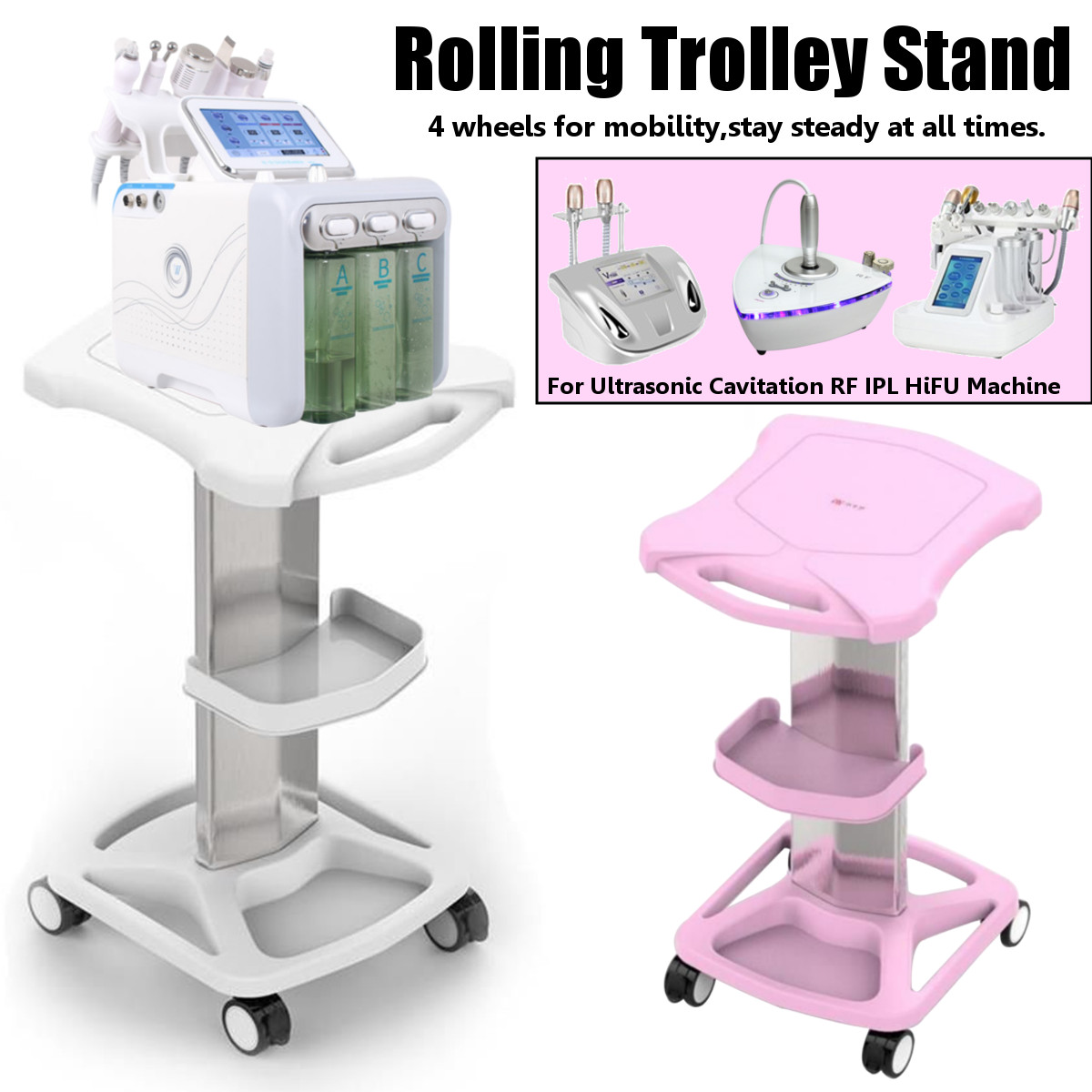 Beauty Equipment Double-layer Storage Rack Rolling Wheel Beauty Salon Household Trolley Cart Face Skin Care Tools