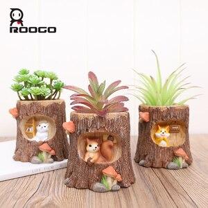 Image 2 - Roogo עץ צורת תליית עציץ מרפסת עציץ תלוי של חיות עסיסי Creative Cachepot עבור פרחים