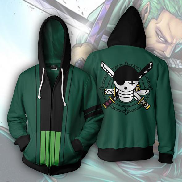 Anime One Piece Roronoa Zoro Green 3D Print Zipper Hoodie Outwear Jacket Coat Uniform Cosplay Costume Sweatshirt Outfit Fashion