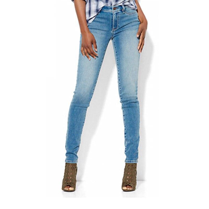 ФОТО Autumn Women Jeans Light Blue Mid Waist Denim Skinny Pencil Pants Softener Pants Female Tight Legs Trousers Full Length Pants