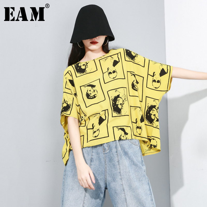 [EAM] Women Bow Bandage Spliced Pleated Loose Fit T-shirt New Round Neck Long Sleeve Fashion Tide Spring Autumn 2019 1B030
