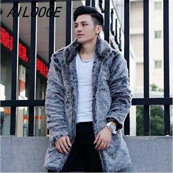 AILOOGE Men Winter Coats Fashion Faux Fox Fur Coat Black Warm Jackets Long Leisure Male Outwears Thick Plus Size Fur Overcoats