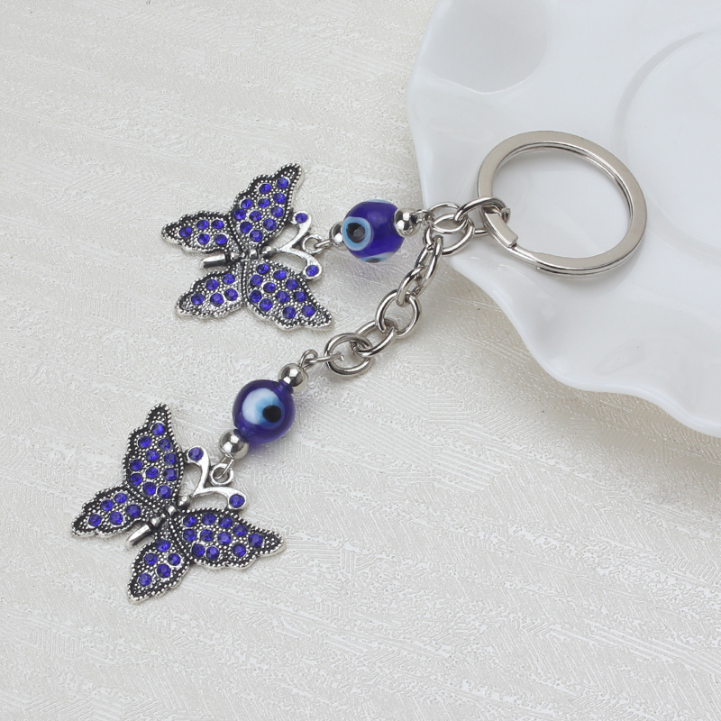 Lucky Evil Eye Charms Keychain Butterfly Pendent Tassel Key Chain Crystal Car Key Chain Women Fashion Jewelry Gifts