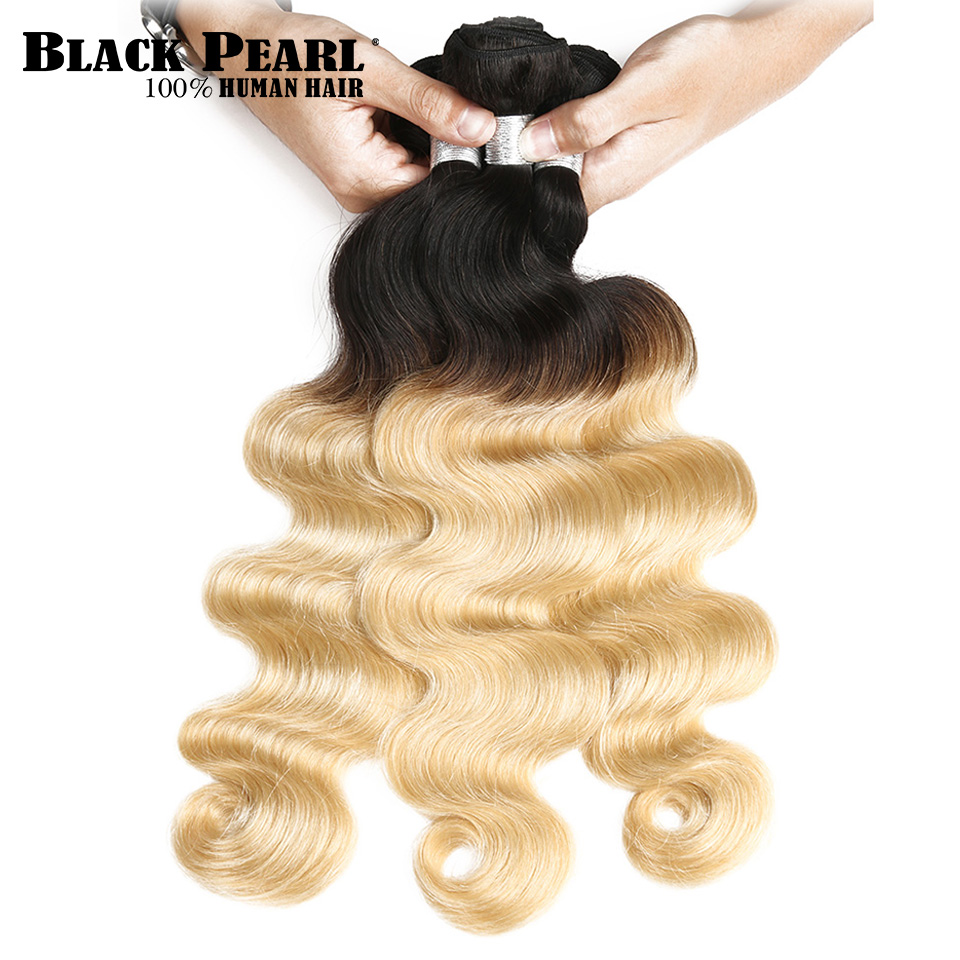 Black Pearl Pre-Colored Remy Hair Body Wave 1/ 3 Bundles Blonde Ombre Brazilian Hair Weave Bundles Human Hair Extension T1b613