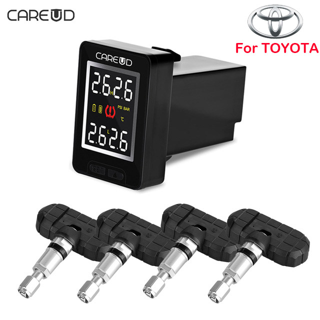 CAREUD U912 Auto Wireless TPMS Tire Pressure Monitoring System with 4 Internal Sensors LCD Display Embedded Monitor For Toyota u912 car tpms wireless auto tire pressure monitoring system 4 sensors lcd embedded monitor for toyota honda