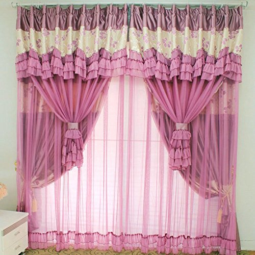 WINLIFE Vintage Floral Purple Curtains Fancy Mediterranean Rustic ...