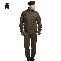 New Men S Tooling Suits Jacket Pant High Quality Multi Pocket Cotton Plus Size Casual Clothing