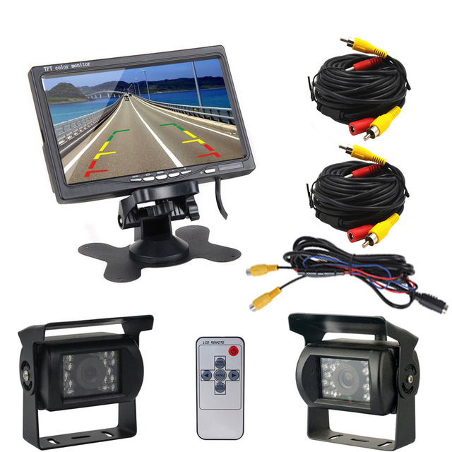 2 x Backup Camera For Bus Truck RV 18 IR LED Night Vision Waterproof Rearview Reverse Back Up Camera + 7 LCD Rear View Monitor