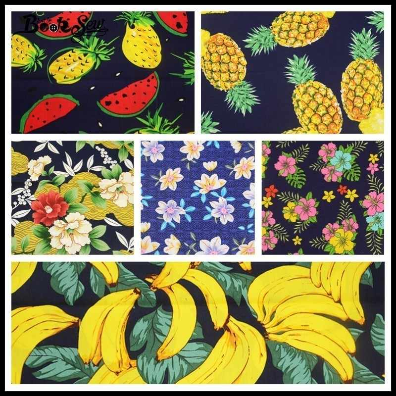 Booksew хлопок поплин нарезанные Ткань Комплект 6 шт. фруктов и цветок Постельные принадлежности украшения дома платье лоскутное рубашка Craft юбка