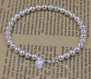 Image 2 - Высокое качество Серебряный цвет счастливый круглый молитва Бусы Браслеты и браслеты для мужчин и женщин модные ювелирные изделия S B10
