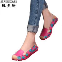 Flat Shoes Women Slip On Genuine Leather Soft Women Flat Casual Loafers Floral Moccasins Women Shoes