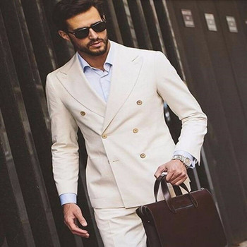 Double Breasted Mens Suits Beige 2017 Groomsmen Wedding Dinner Party Suits for men Handsome Groomsman Tuxedos suit (Jacket+Pant)