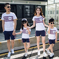 Wholesale summer new Korean striped beach Children t-shirt Dad Mom Kids tshirt family matching outfits Couples clothing