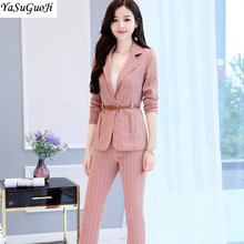 New 2018 office lady style fashion vertical striped slim fit women suits 2 piece suit women with belt women's clothing TXF2