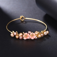 ROXI Brand Bracelet Elegant Rose Gold Plated Bangles Hand Made Flowers Fashion Pearls Jewelry For Women