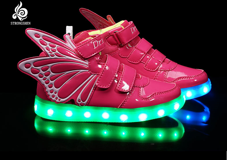 Free shipping New 2018 Hot Selling Children Shoes USB Lighted Children Sneakers Wings Soft Parental Shoes Kids Sneakers free shipping led lighted cheaper honely 10