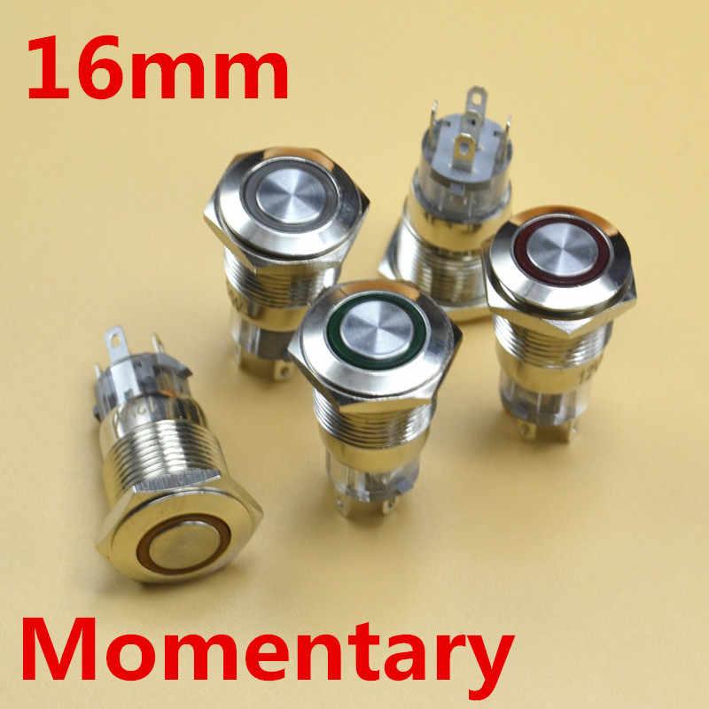 5 V 12 V 24 V 220 V LED 16mm metalowy przełącznik chwilowy metalowy przełącznik przyciskowy 1NO1NC