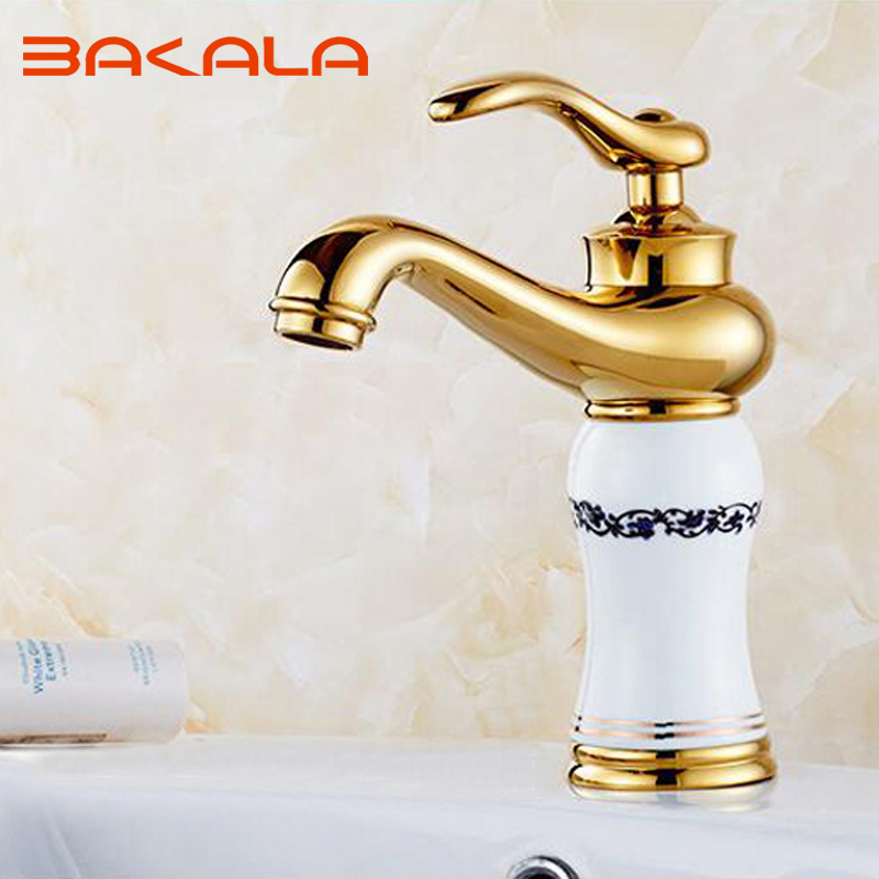 ФОТО BAKALA golden tap all copper European retro basin faucet basin of cold and hot single black and white porcelain B-1043