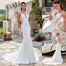 فستان زفاف مثير حورية البحر بدون أكمام 2020 مزين بالدانتيل أبيض عاجي شيفون الأميرة فستان عروس Vestido De Noiva