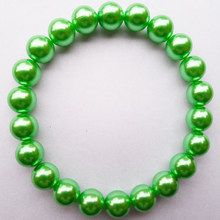 Hot sale office/ career (OL style)10mm green pearl bracelet jewelry,simulated-pearl beads strand green bracelet for girl&women.(China)